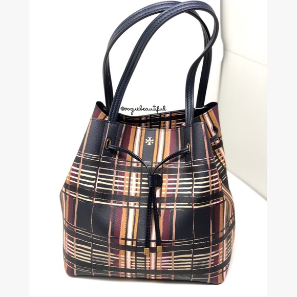 6b43b752b11 NWT Tory Burch Kerrington Drawstring Tote Plaid